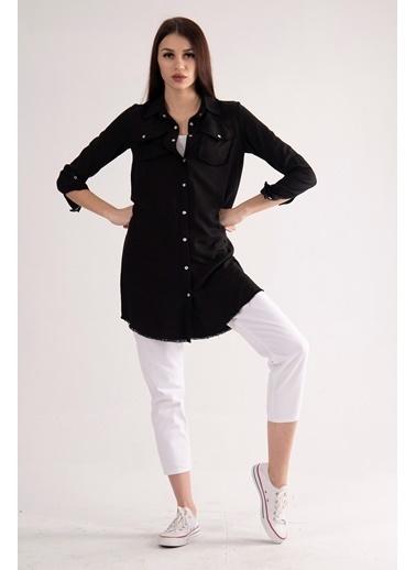 Belamore  Siyah Uzun Kollu Gömlek Yaka Tensel Kumaş Tunik 0805928.01 Siyah